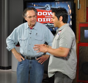 """Gordon Quinn (left) and Frank Fontana (right) on the set of the live tapping of the """"Down and Dirty Show"""""""