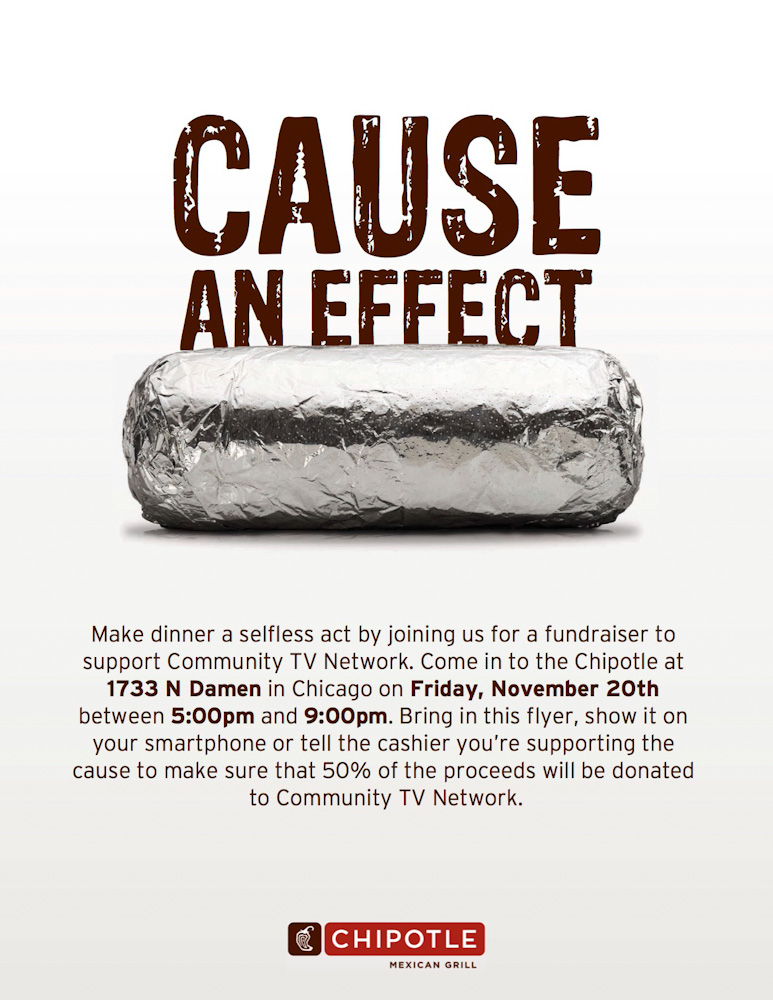 Community TV Network Chipotle Event Flyer