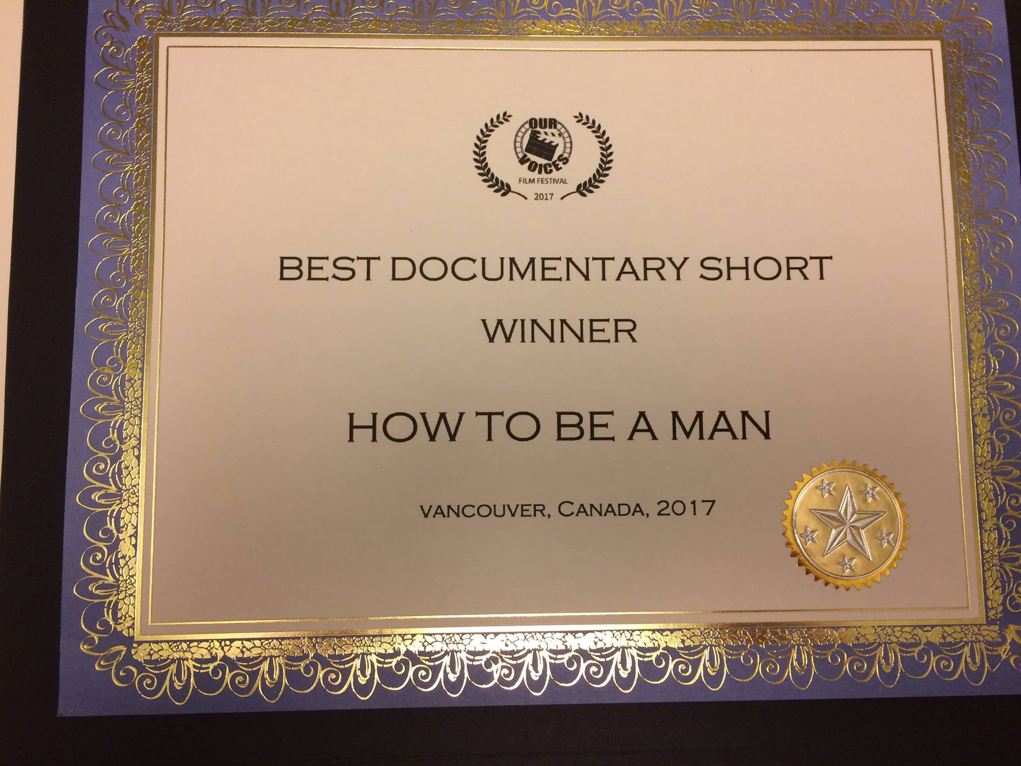 How to Be a Man wins Best Documentary award